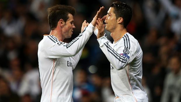 克里斯蒂亚诺 - 罗纳尔多和 - 加雷斯 - 贝尔 - 实时马德里 - V-竞技 - 马德里 - 欧洲冠军联赛